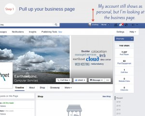 View of business page in backend of Facebook